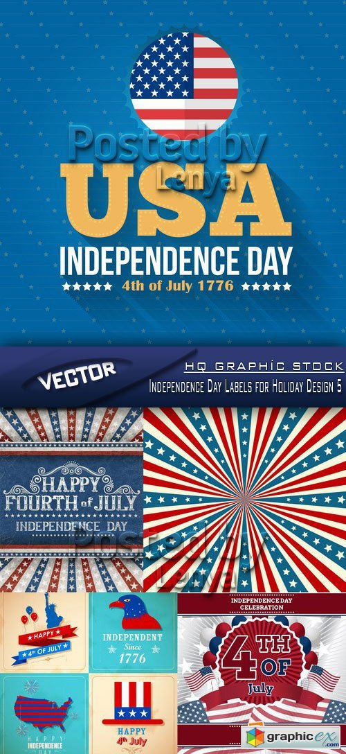 Stock Vector - Independence Day Labels for Holiday Design 5
