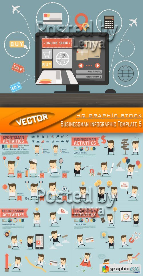 Stock Vector - Businessman infographic Template 5