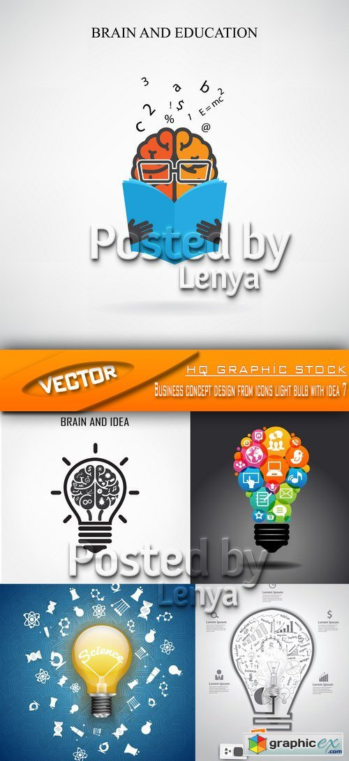 Stock Vector -  Business concept design from icons light bulb with idea 7