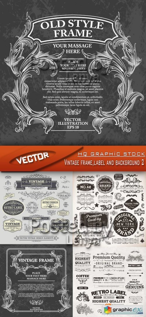 Stock Vector - Vintage frame,label and background 2