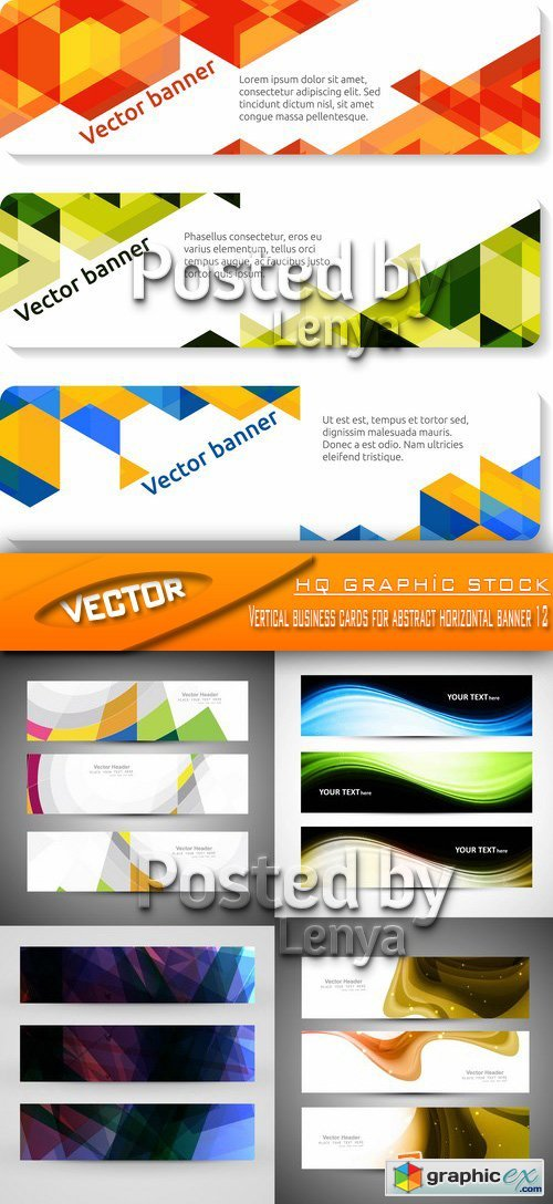 Stock Vector - Vertical business cards for abstract horizontal banner 12