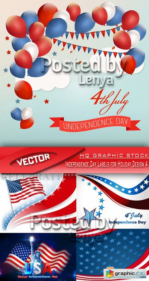 Stock Vector - Independence Day Labels for Holiday Design 4