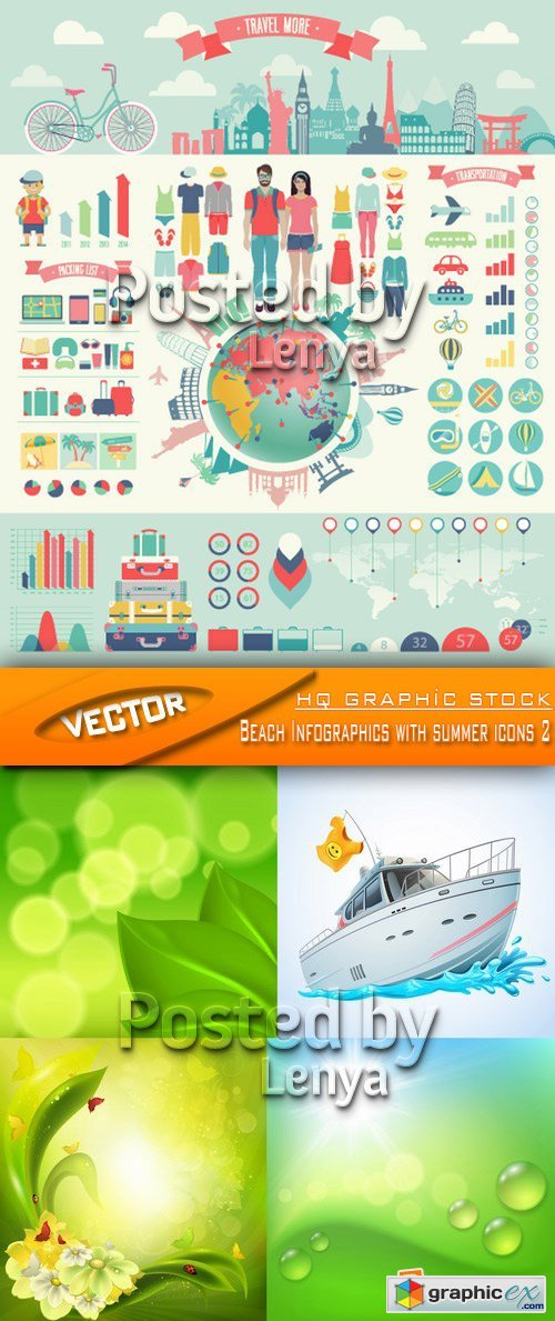 Stock Vector - Beach Infographics with summer icons 2
