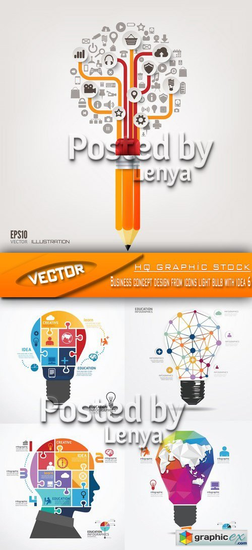 Stock Vector -  Business concept design from icons light bulb with idea 6