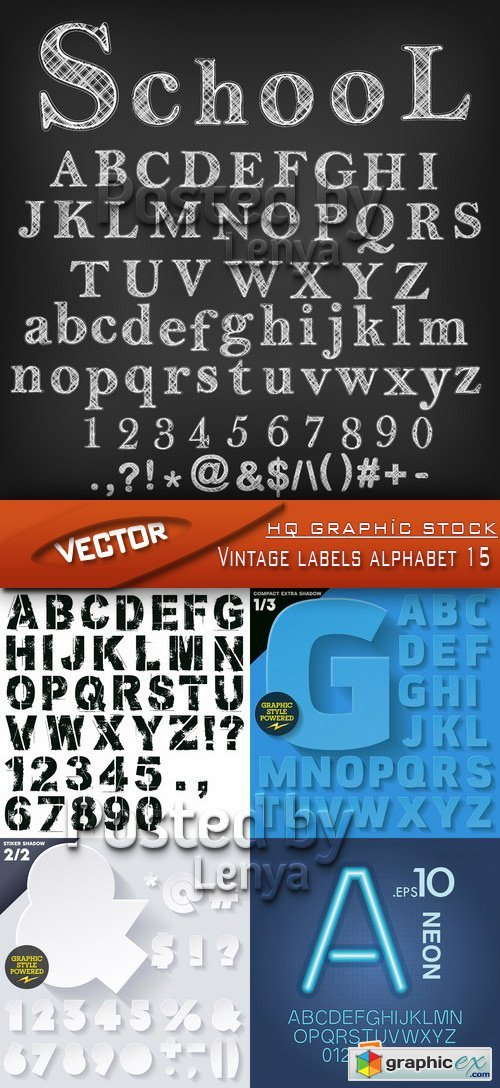 Stock Vector - Vintage labels alphabet 15