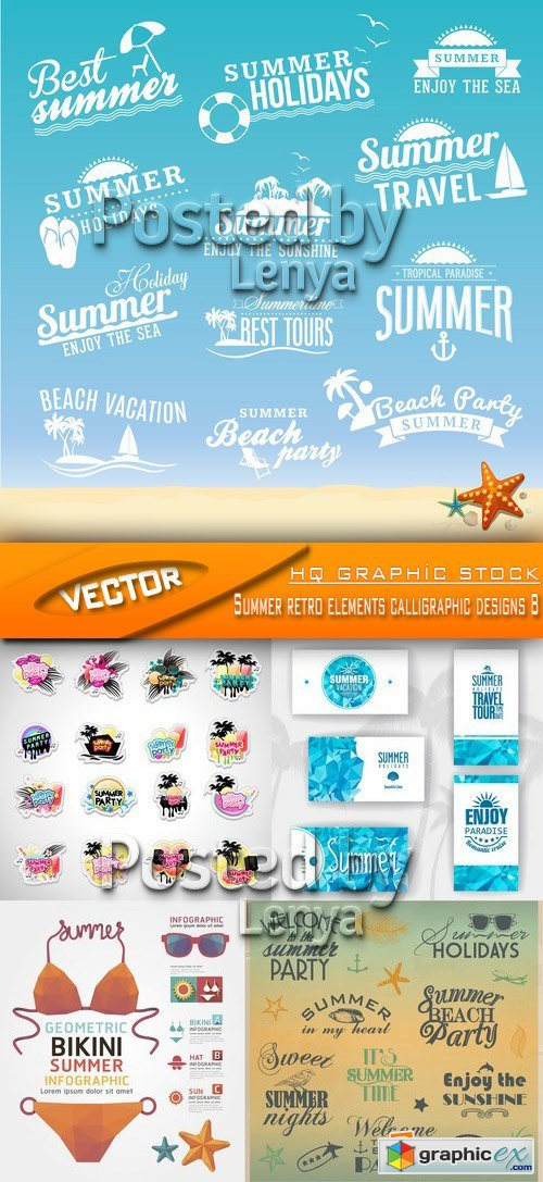Stock Vector - Summer retro elements calligraphic designs 8