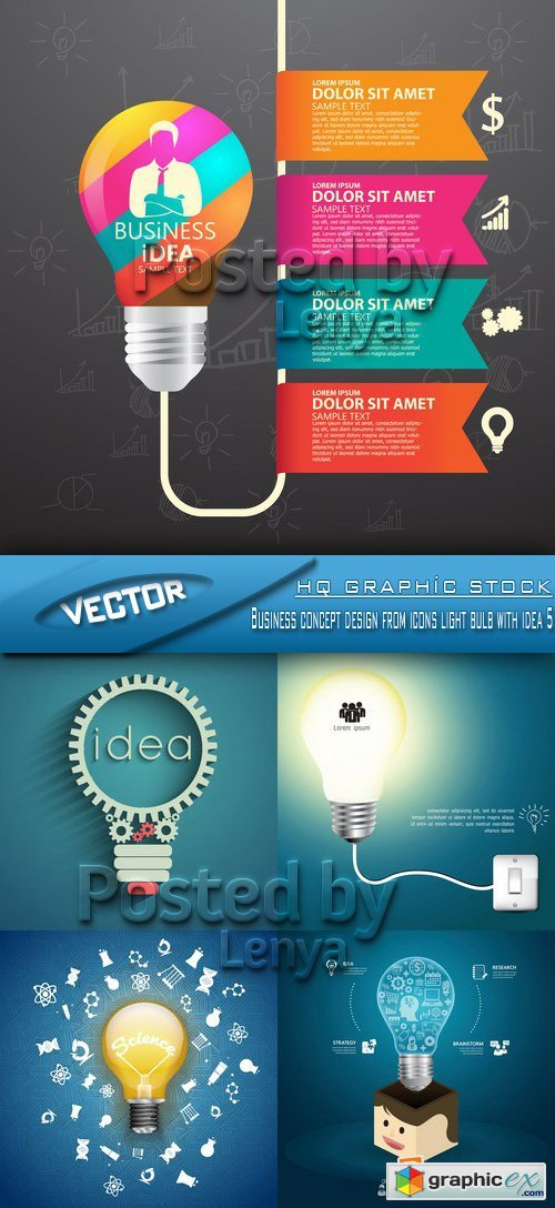 Stock Vector -  Business concept design from icons light bulb with idea 5