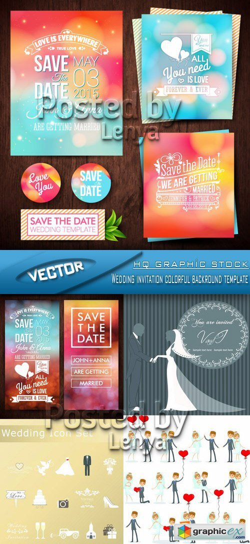 Stock Vector - Wedding invitation colorful backround template