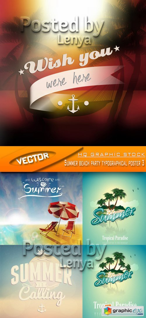 Stock Vector - Summer beach party typographical poster 3