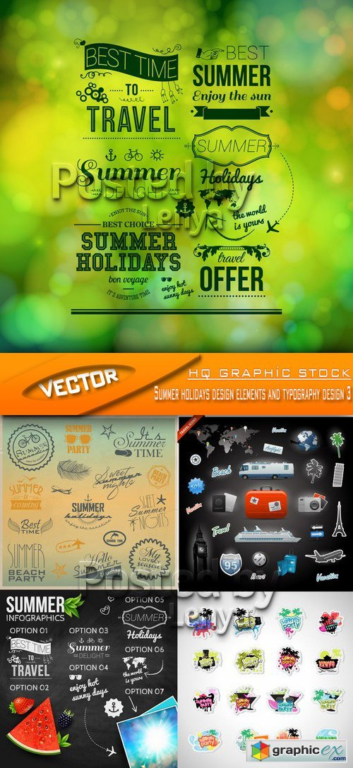 Stock Vector - Summer holidays design elements and typography design 3