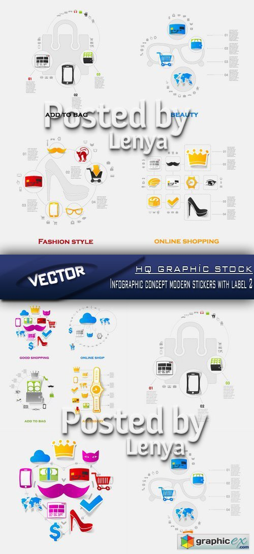 Stock Vector - Infographic concept modern stickers with label 2