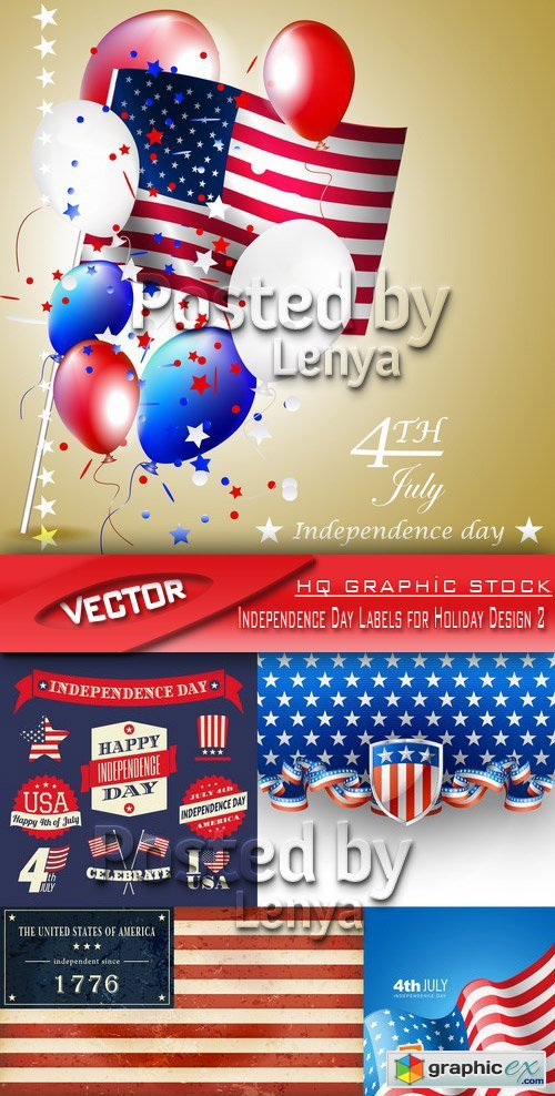 Stock Vector - Independence Day Labels for Holiday Design 2