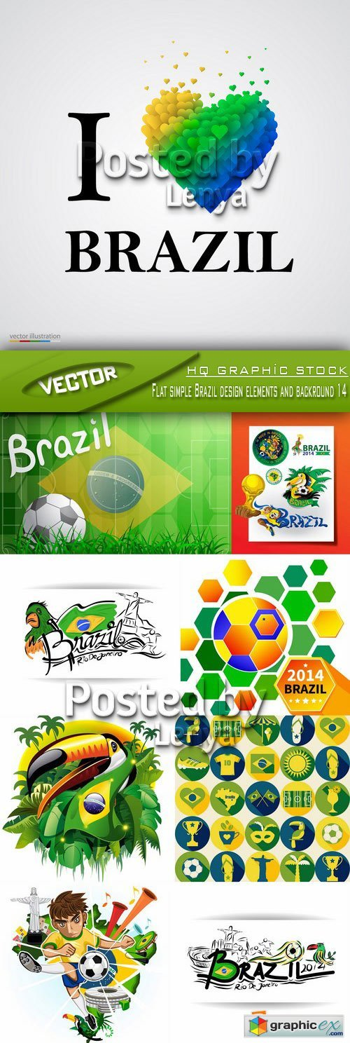 Stock Vector - Flat simple Brazil design elements and backround 14