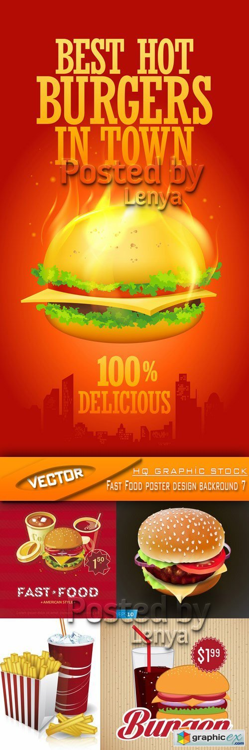 Stock Vector - Fast Food poster design backround 7