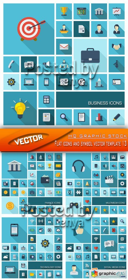 Stock Vector - Flat icons and symbol vector template 13