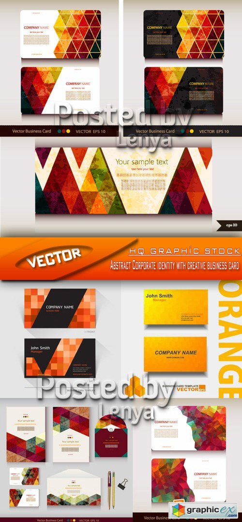 Stock Vector - Abstract Corporate identity with creative business card