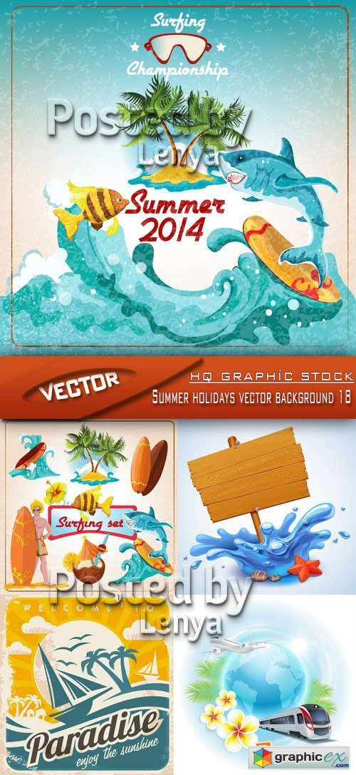 Stock Vector - Summer holidays vector background 18