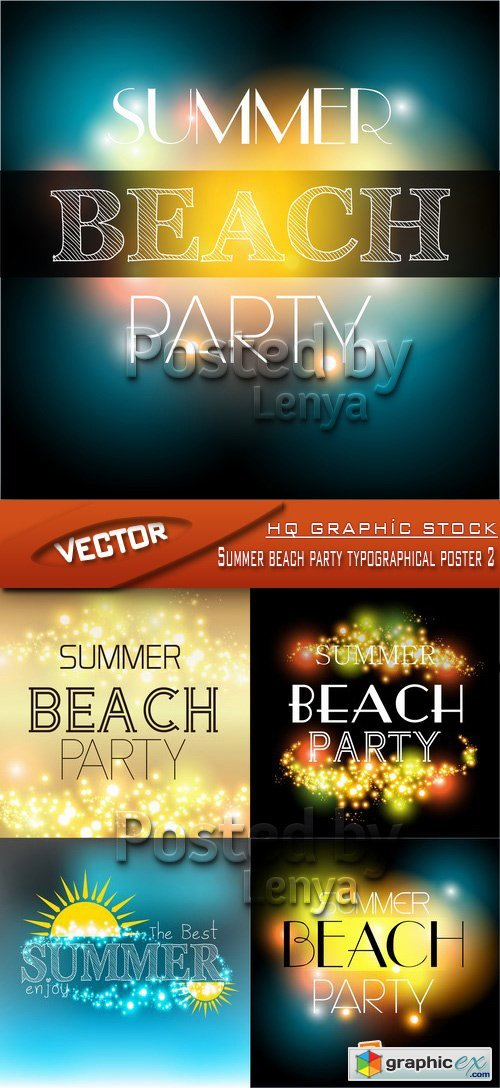 Stock Vector - Summer beach party typographical poster 2