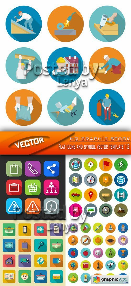 Stock Vector - Flat icons and symbol vector template 12