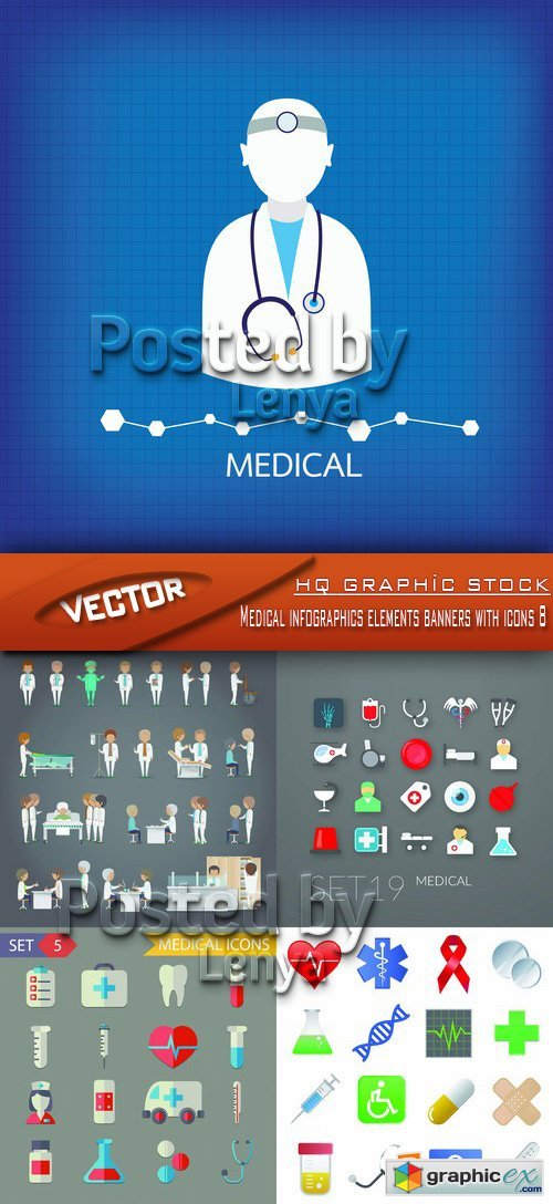 Stock Vector - Medical infographics elements banners with icons 8