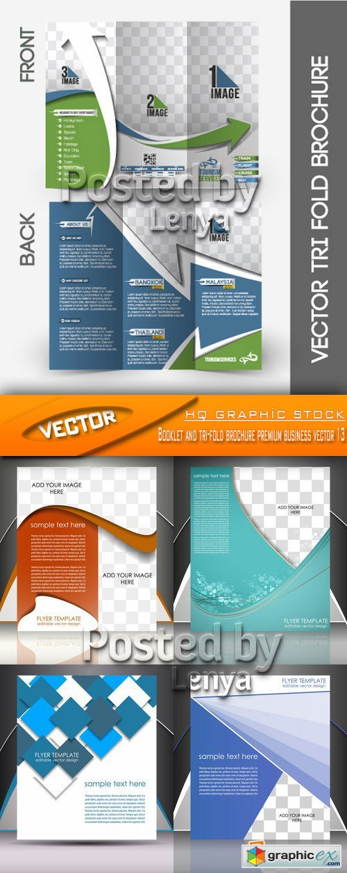 Stock Vector - Booklet and tri-fold brochure premium business vector 13
