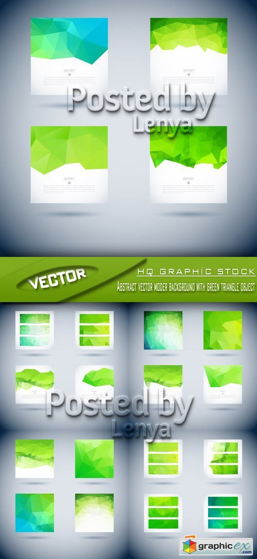 Stock Vector - Abstract vector moder background with green triangle object