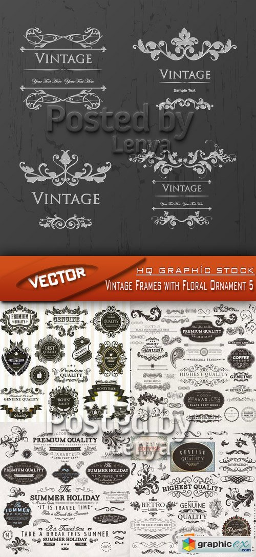 Stock Vector - Vintage Frames with Floral Ornament 5