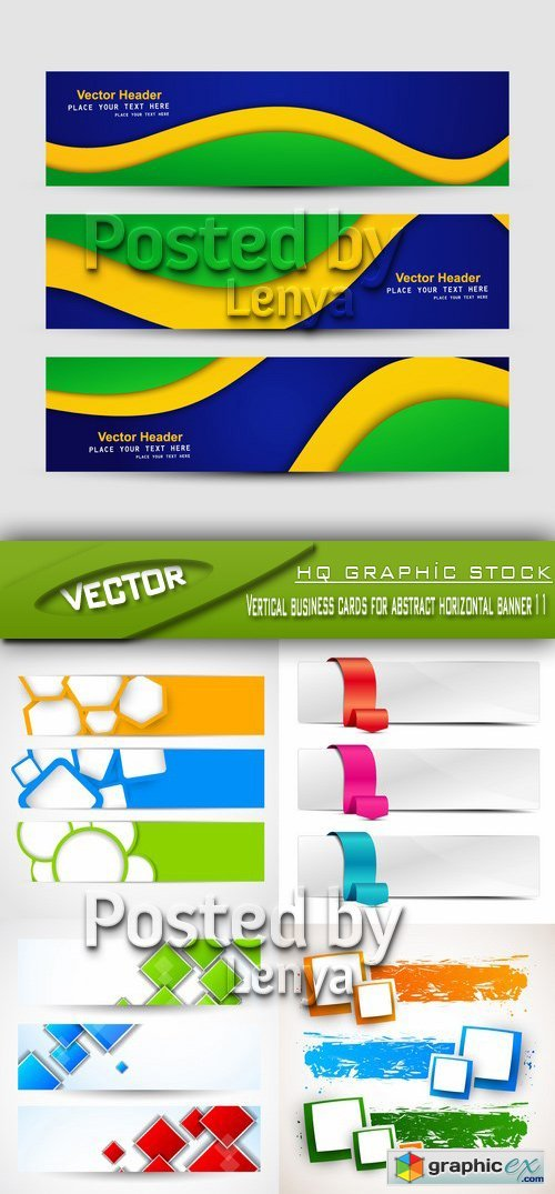 Stock Vector - Vertical business cards for abstract horizontal banner 11