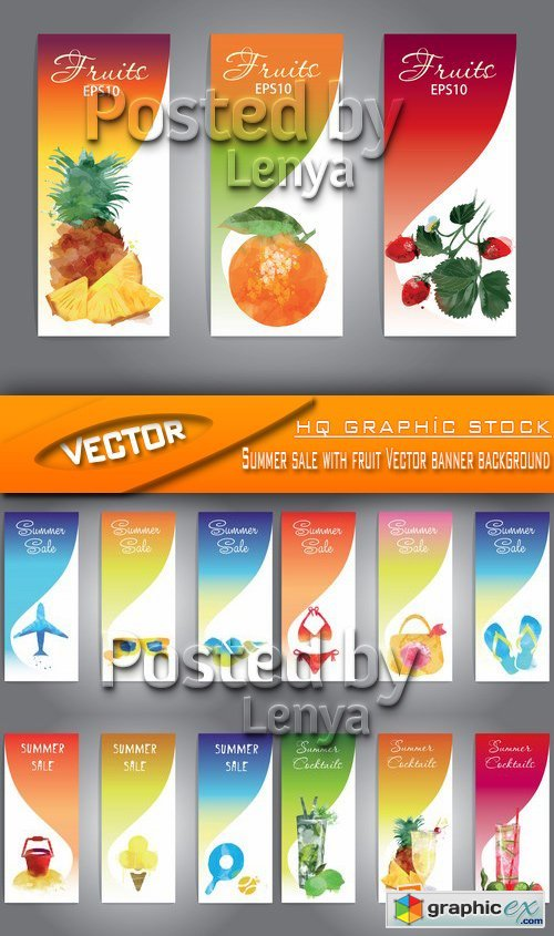 Stock Vector - Summer sale with fruit Vector banner background