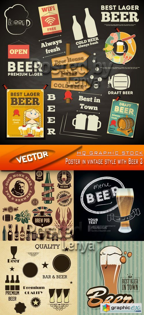 Stock Vector - Poster in vintage style with Beer 2