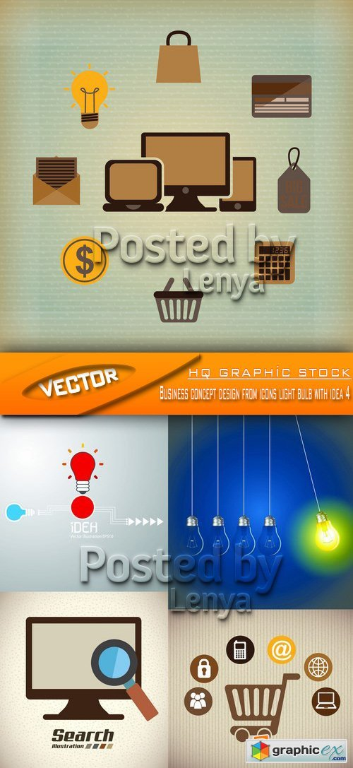 Business concept design from icons light bulb with idea 4