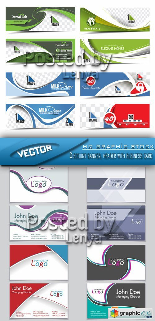 Stock Vetor - Discount banner, header with business card