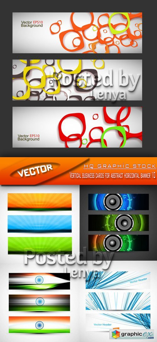 Stock Vector - Vertical business cards for abstract horizontal banner 10
