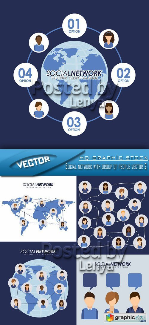 Stock Vector - Social network with group of people vector 2