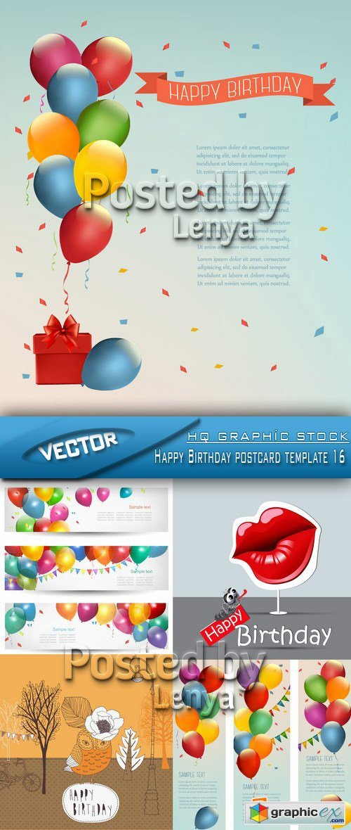 Stock Vector - Happy Birthday postcard template 16