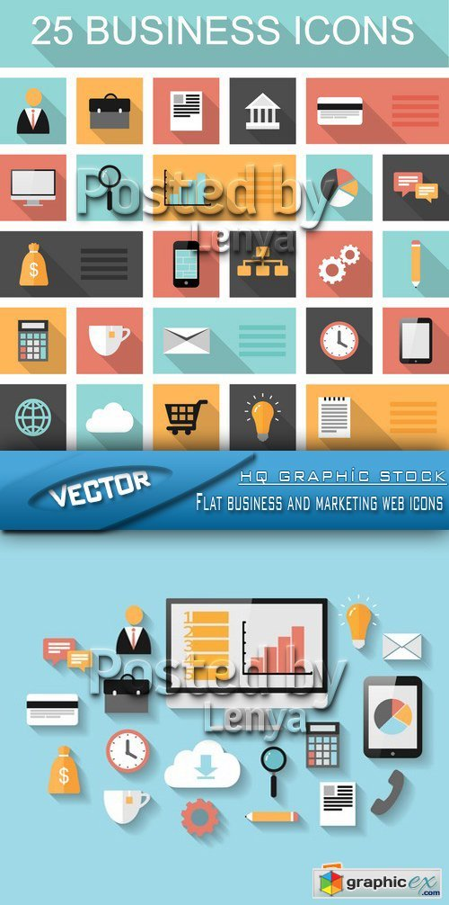 Stock Vector - Flat business and marketing web icons