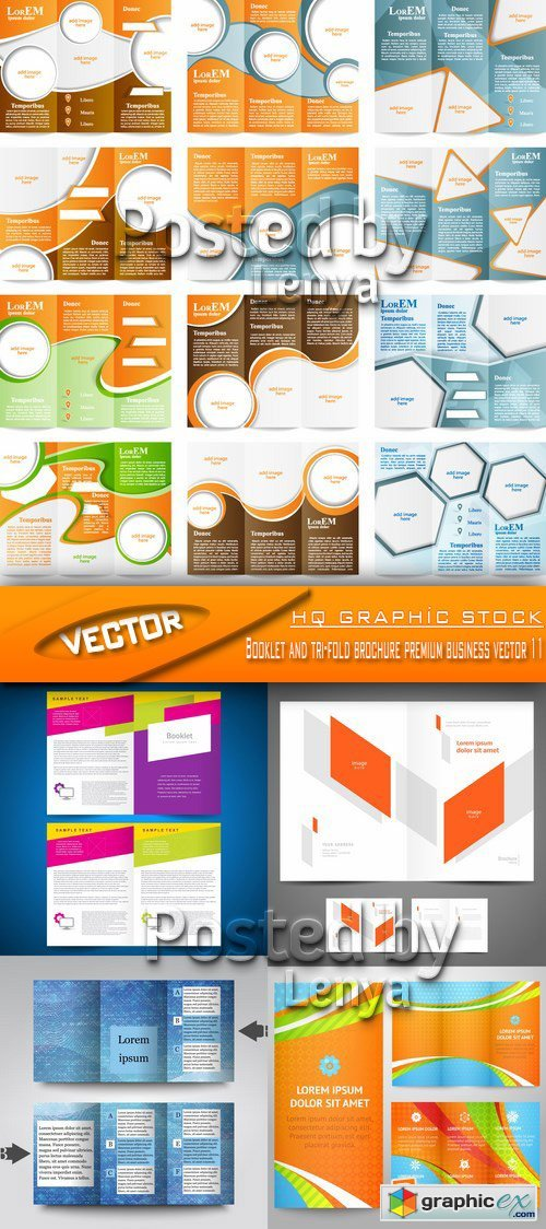 Booklet and tri-fold brochure premium business vector 11