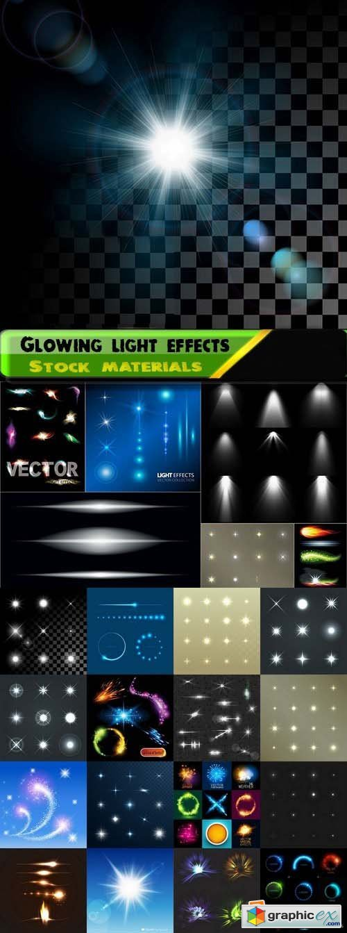 Glowing light effects Set 25xEPS