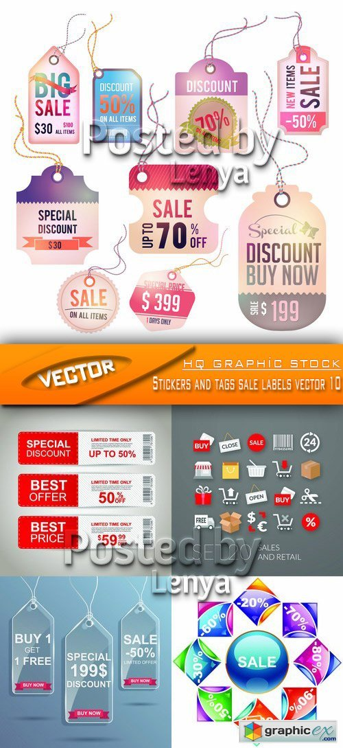 Stock Vector - Stickers and tags sale labels vector 10