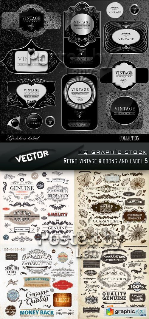 Stock Vector - Retro vintage ribbons and label 5