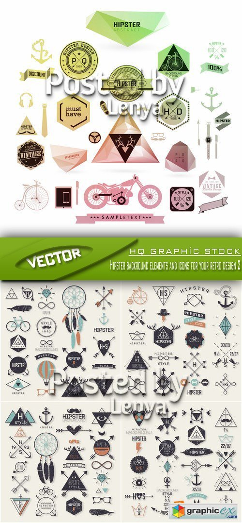 Stock Vector - Hipster backround elements and icons for your retro design 2