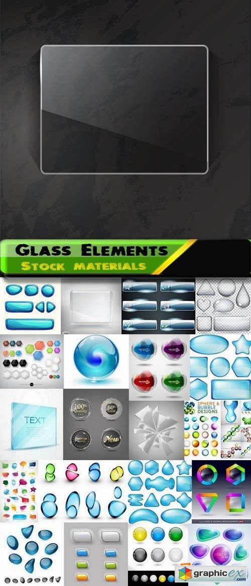 Different glass Elements in vector by stock 4 25xEPS