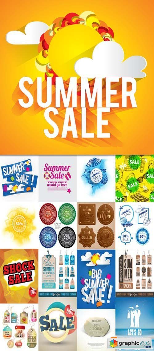 Big summer sale vector design, 25xEPS