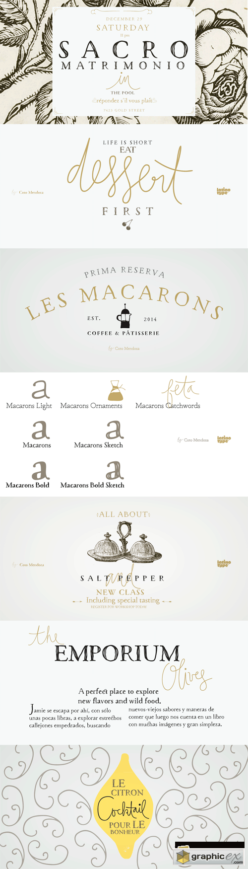 Macarons Font Family - 7 Fonts for $129