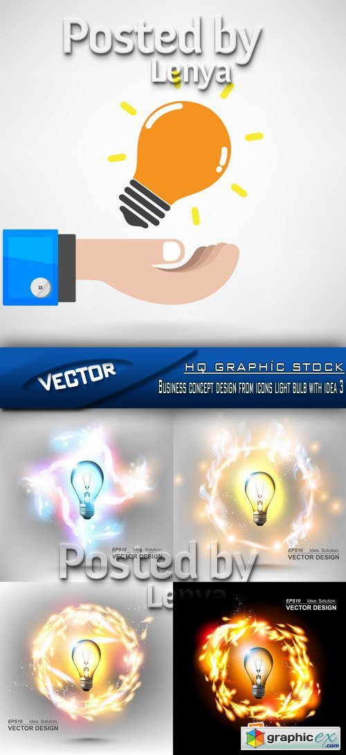 Business concept design from icons light bulb with idea 3