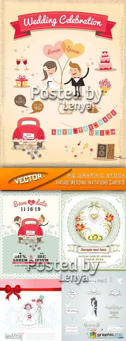 Stock Vector - Vintage Wedding Invitations Cards 8
