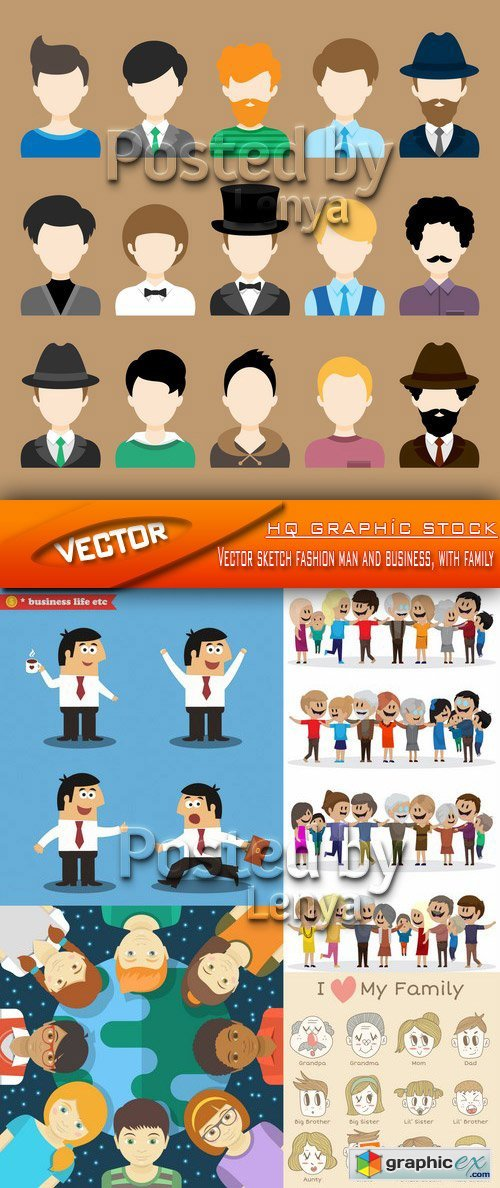 Stock Vector - Vector sketch fashion man and business, with family
