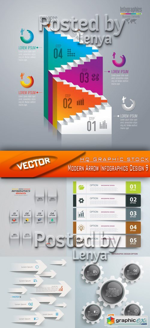 Stock Vector - Modern Arrow Infographics Design 9