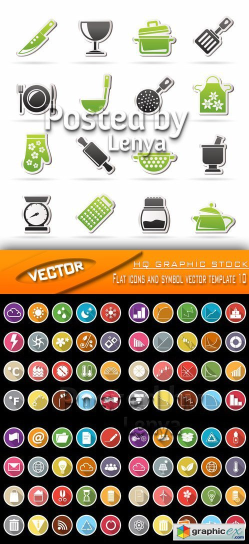 Flat icons and symbol vector template 10