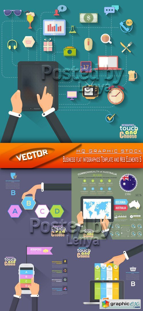 Stock Vector - Business flat Infographics Template and Web Elements 5